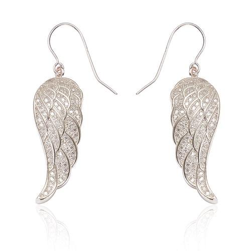 Angel Wing Drop Silver Earrings