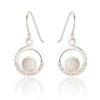 Maci White Opal Circle Earrings