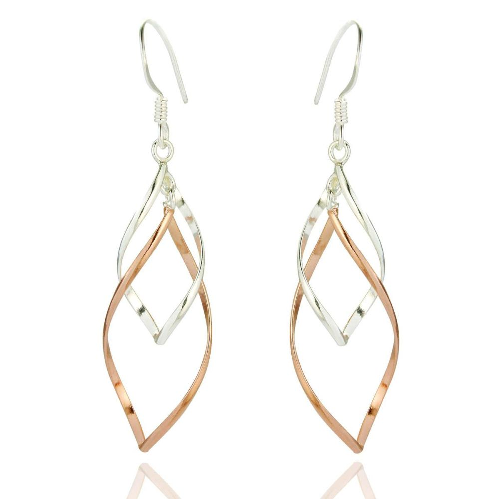 Paige Swirl Drop Rose Gold Earrings - Silver & Rose Gold