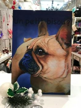 Petit Bisous French Bulldog Canvas by Kathy Rondel