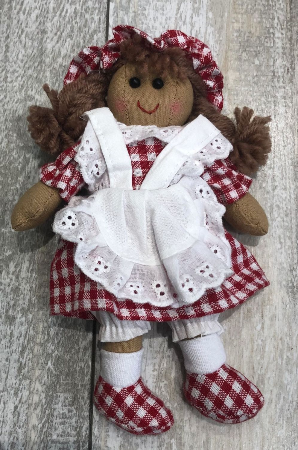 Small Rag Doll Red Check Dress & Mop Cap