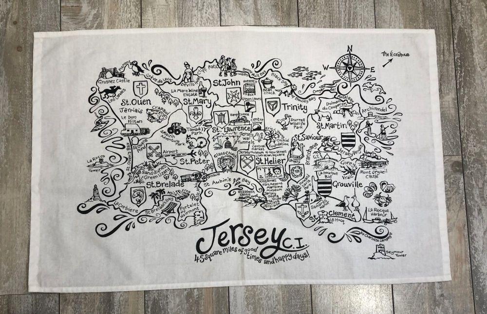 Jersey 45 Square Miles Teatowel