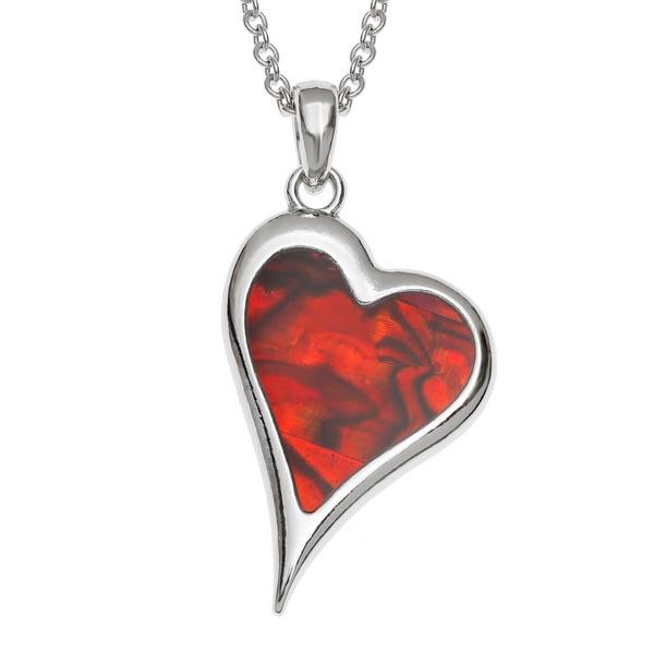 Asymmetric Red Shell Heart Pendant