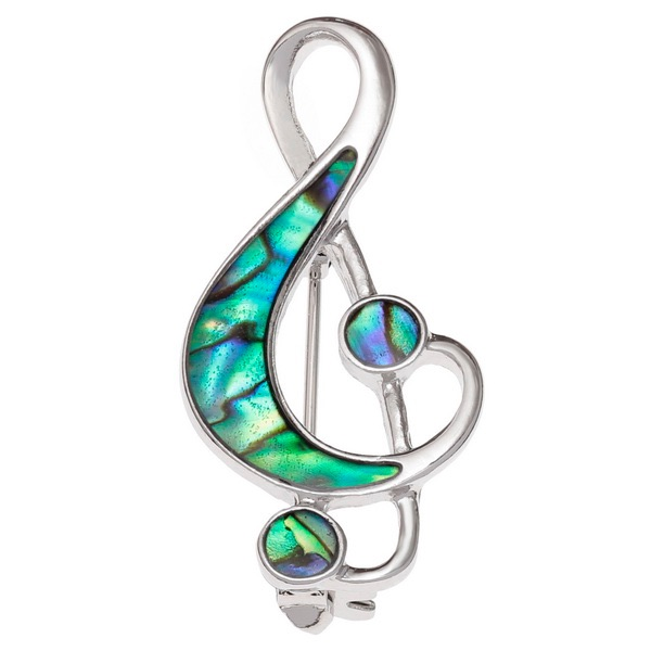 Treble Clef Paua Shell Brooch