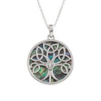Mandala Tree Diamante Paua Shell Circle Pendant