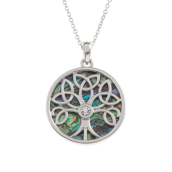 Mandala Tree Diamente Paua Shell Circle Pendant