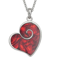 Heart Swirl Red Paua Shell Pendant