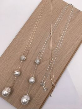 Faux Double Pearl Diamanté Pendant