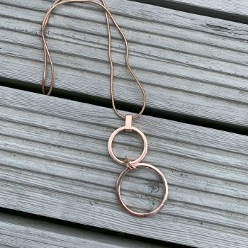 Double Hoop Pendant on Snake Chain