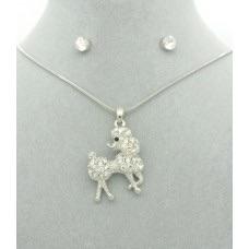 Diamanté Poodle Pendant + Free Diamanté Earrings