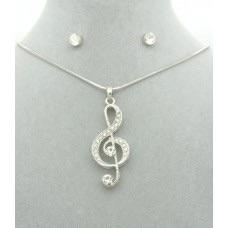 Diamanté Treble Clef Pendant + Free Diamanté Earrings