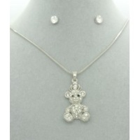 Diamanté Teddy Bear Pendant + Free Diamanté Earrings