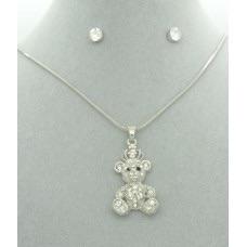 Diamanté Teddy Bear Pendant & Diamanté Earrings Gift Set
