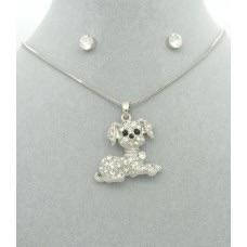 Diamanté Dog Pendant + Free Diamanté Earrings