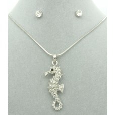 Diamanté Seahorse Pendant + Free Diamanté Earrings