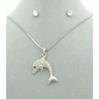 Diamanté Dolphin Pendant + Free Diamanté Earrings
