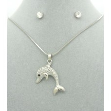 Diamanté Dolphin Pendant + Free Diamanté Earrings