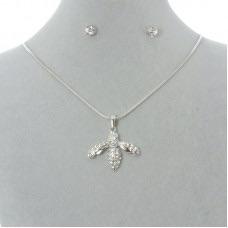 Diamanté Bee Pendant & Diamanté Earrings Gift Set