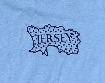 Jersey Map T Shirt 7/8 Yrs  Sky/ Navy Print