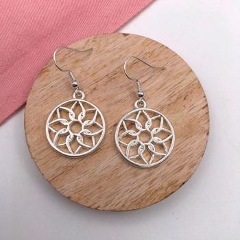Mandala Circle Drop Earrings