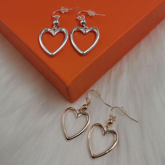 Outline Heart Drop Earrings