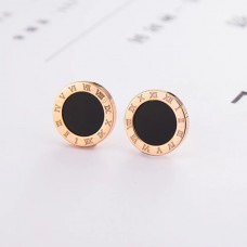 Round Roman Numeral Stud Earrings