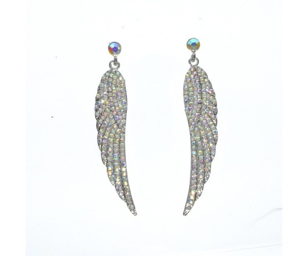 Long Angel Wing Drop Earrings