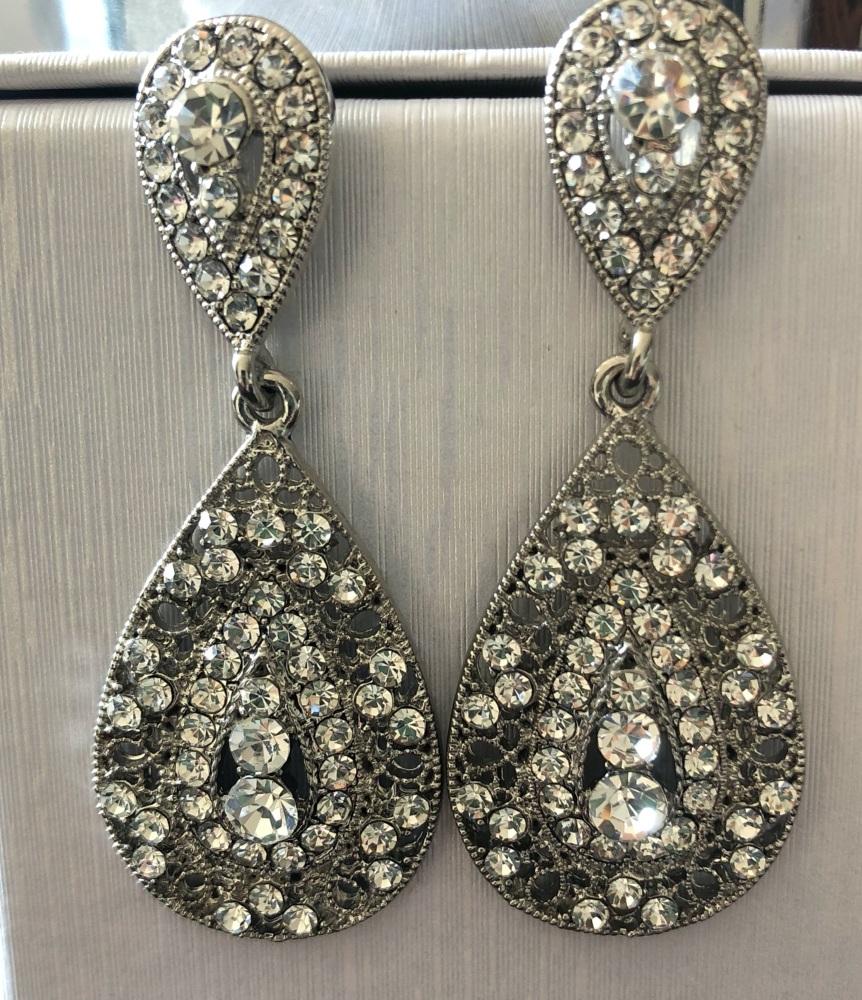 Large Diamanté Teardrop Earrings - Silver