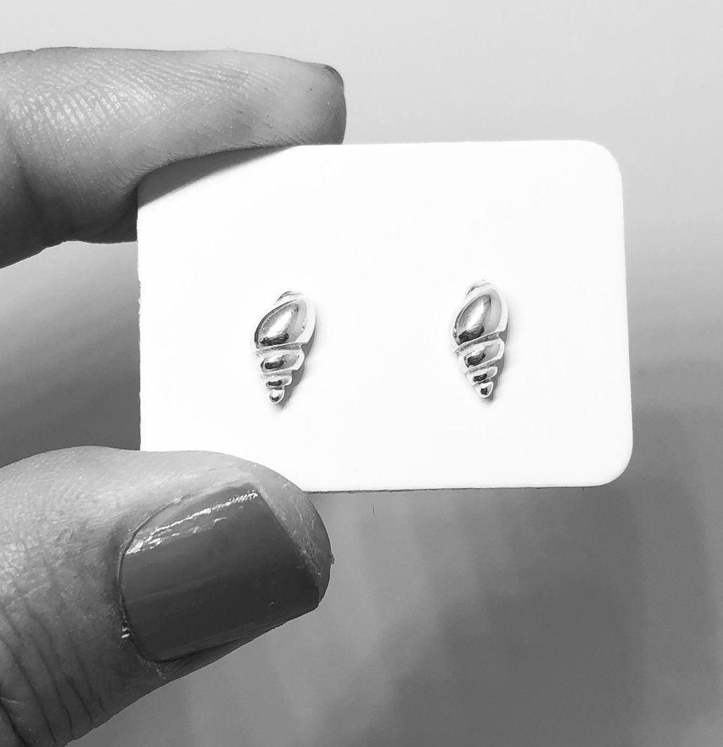 Tiny Whelk Shell Stud Earrings- by Lisa Le Brocq