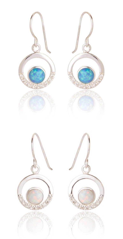Maci Opal Circle Earrings