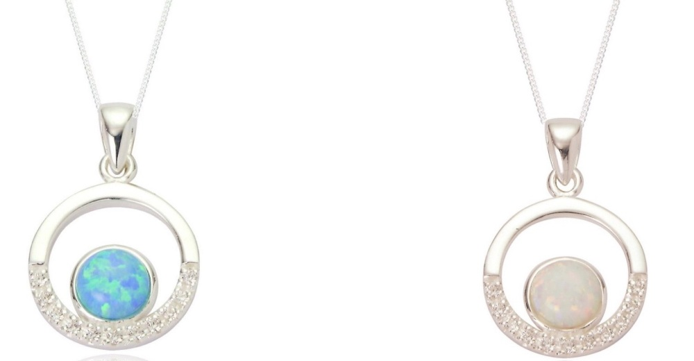 Maci Opal Cubic Zirconia Circle Pendant