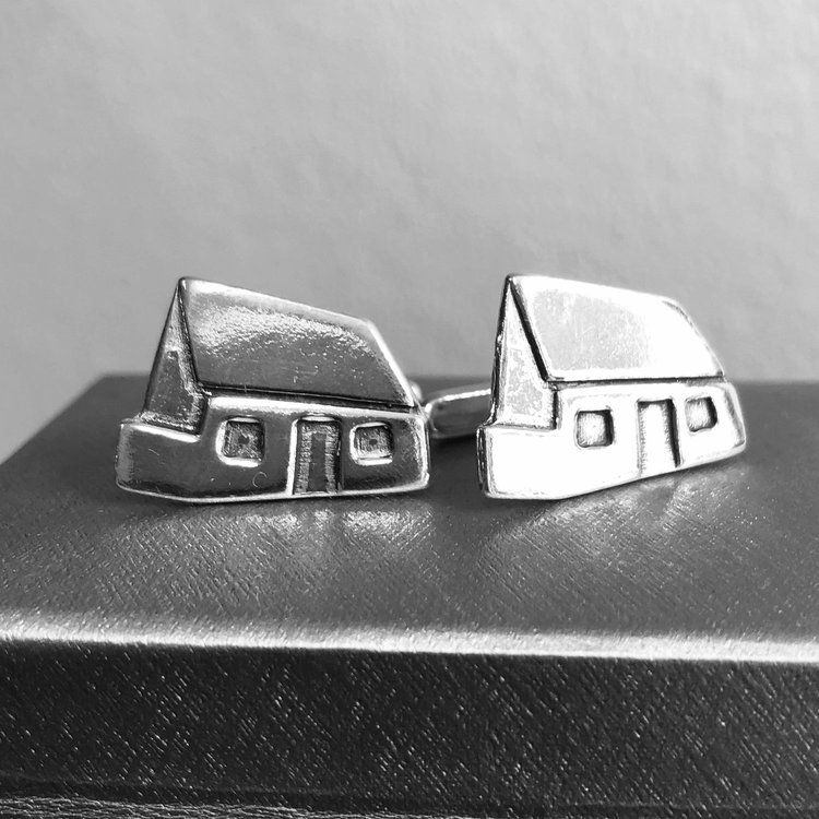 Silver White House Cufflinks by Lisa Le Brocq