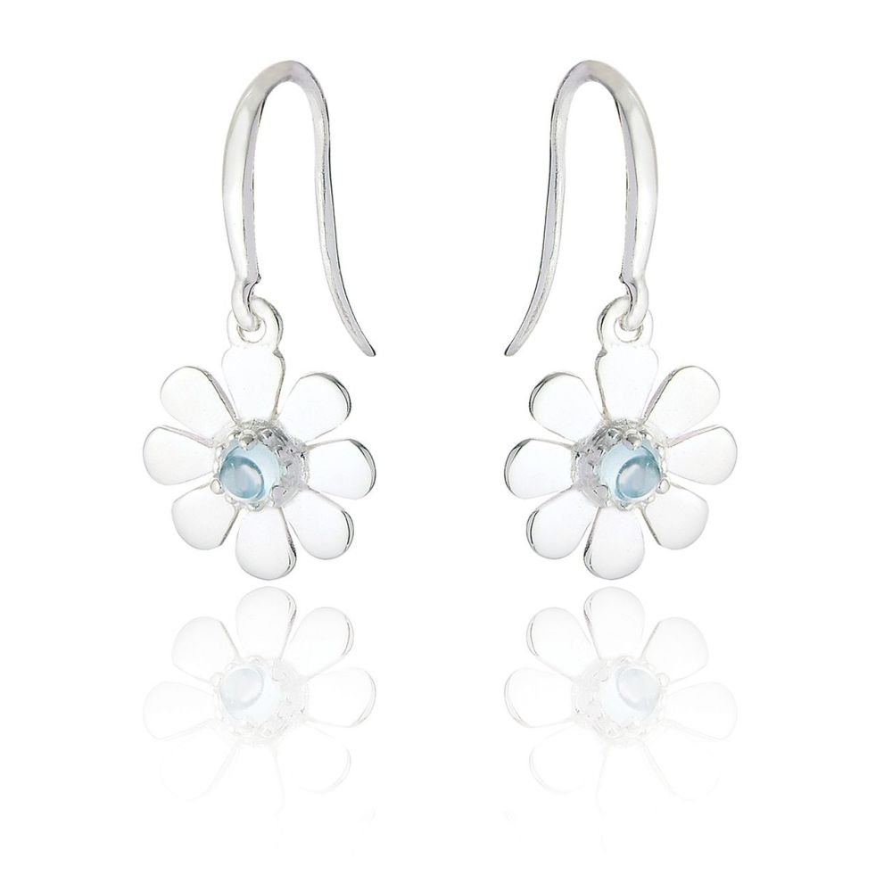 Silver Daisy Earrings with Blue Topaz- TO ORDER NOW