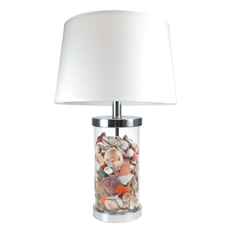 Shell Filled Glass Lamp & Shade