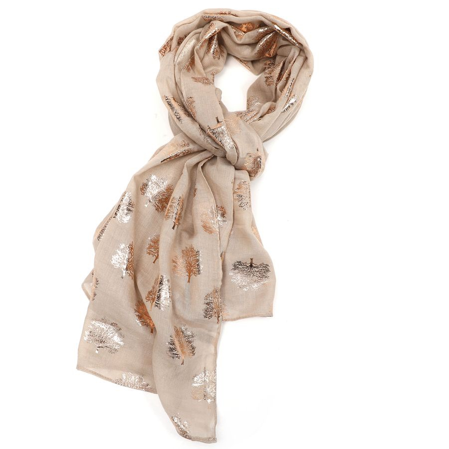 Rose Gold Oak Tree Scarf Latte - MORE COLOURS AVAILABLE
