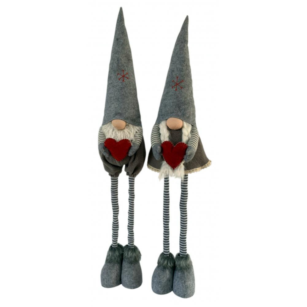 Large Grey Girl and Boy with Telescopic Legs
