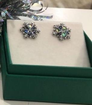 Snowflake Paua Shell Earrings  - WAS £8.95 NOW £5