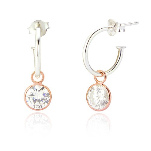 Felicity Hoop CZ Drop Earrings - ALSO AVAILABLE IN SILVER/ROSE GOLD