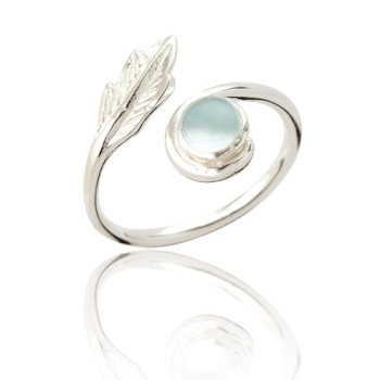 Juno Topaz and Leaf Wrap Ring