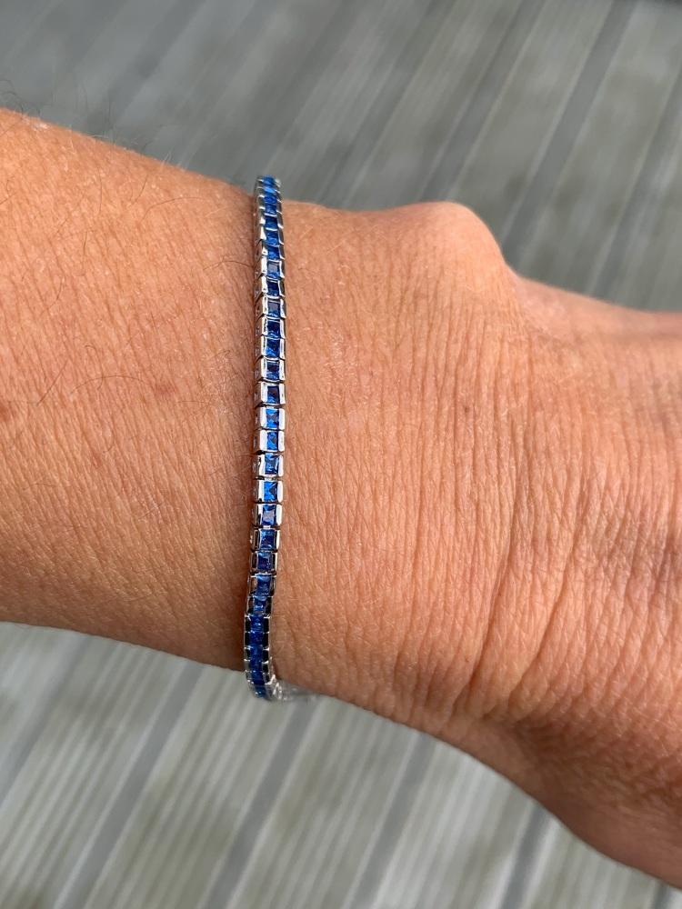 Square Sapphire Tennis Bracelet
