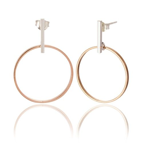 Robyn Modern Bar & Hoop Drop Earrings Rose Gold & Silver
