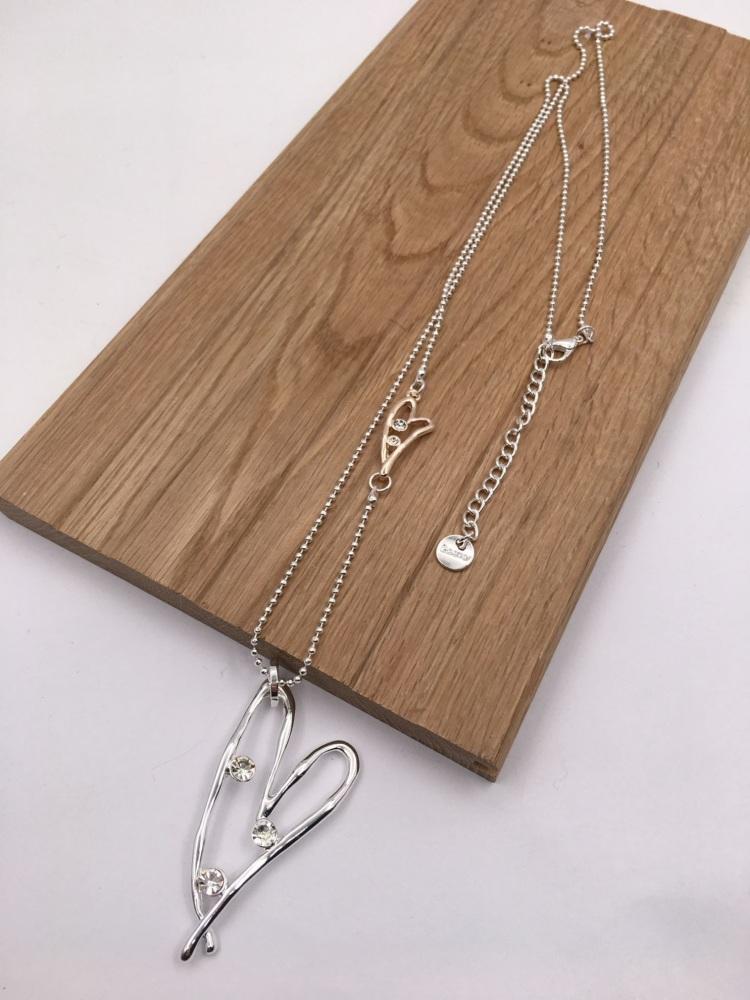 Asymmetric Diamanté Heart Pendant - Silver