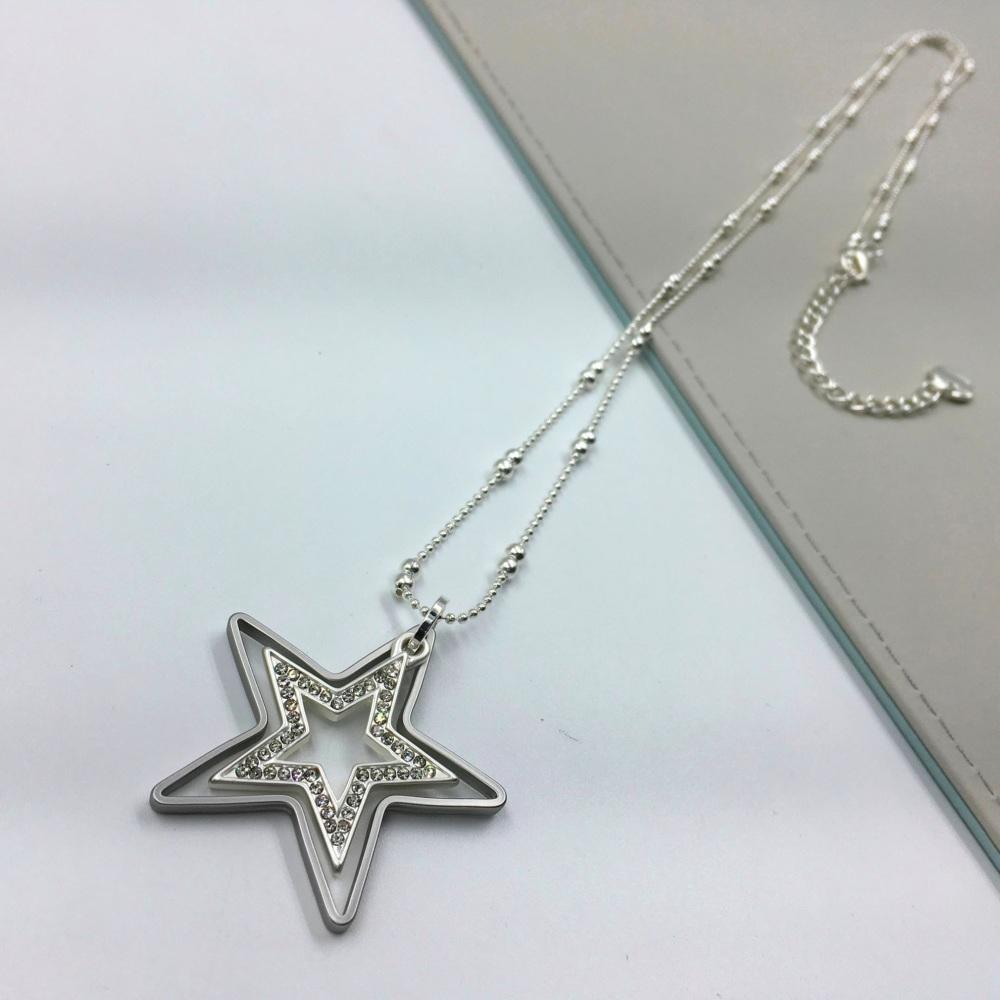 Diamante Double Star Pendant