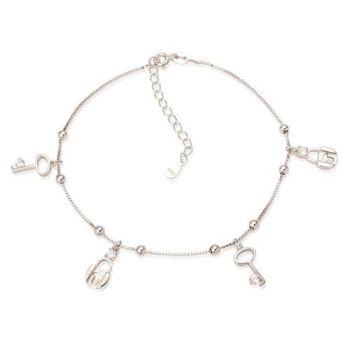 Sterling Silver Key & Padlock Sparkle Ankle Bracelet