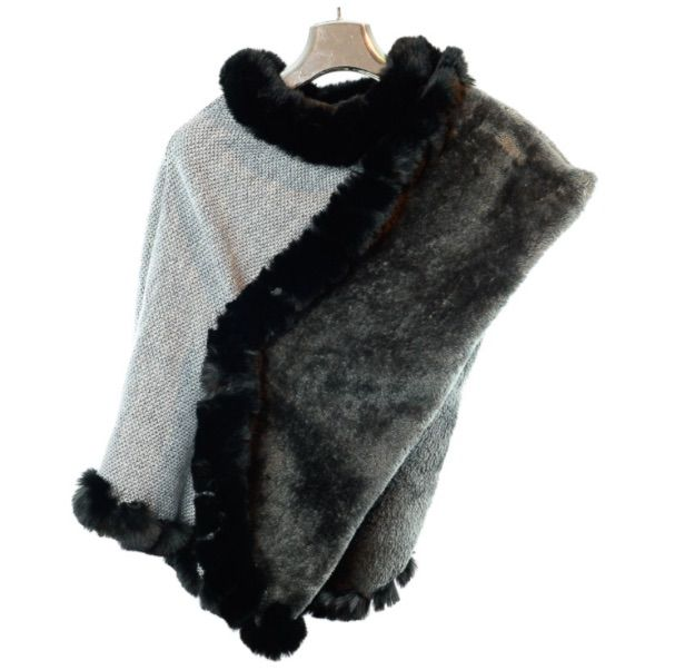 Fur Lined Poncho Silver Grey