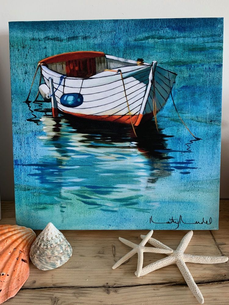 White Boat Canvas by Kathy Rondel
