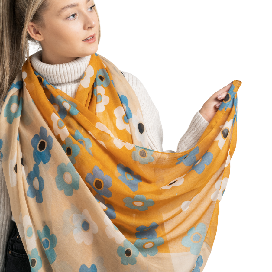 Bold Floral Scarf Mustard - MORE COLOURS AVAILABLE
