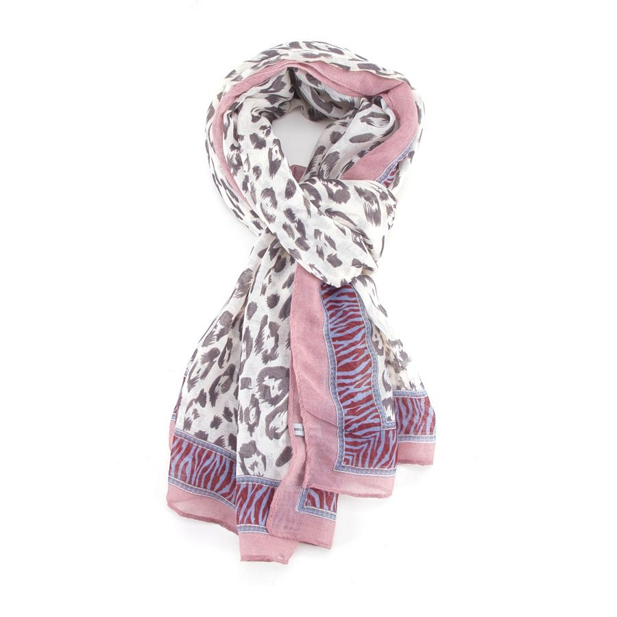Leopard Pale Edge Scarf Pink - MORE COLOURS AVAILABLE