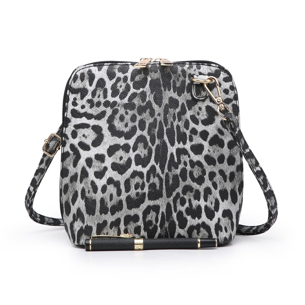 Small Leopard Print Cross Body Bag Black - MORE COLOURS AVAILABLE