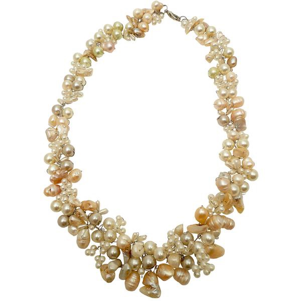 White Pearl & Stone Necklace